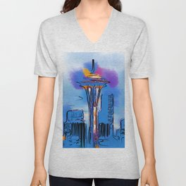 The Space Needle In Soft Abstract Unisex V-Neck