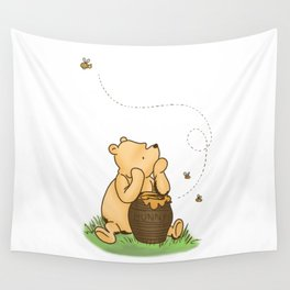 Classic Pooh with Honey - No background Wall Tapestry
