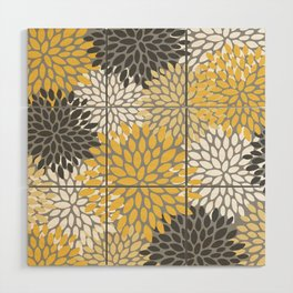 Modern Elegant Chic Floral Pattern, Soft Yellow, Gray, White Wood Wall Art
