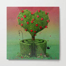 flowering tree in shape of heart and labyrinth Metal Print