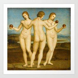 """Raffaello Sanzio da Urbino """"Three Graces"""", circa 1504-1505 Art Print"""