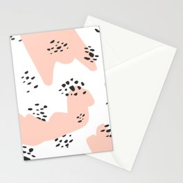 Modern blush pink abstract color block black polka dots illustration pattern Stationery Cards