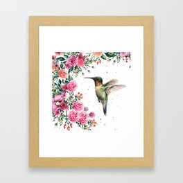 Hummingbird and Flowers Watercolor Animals Framed Art Print
