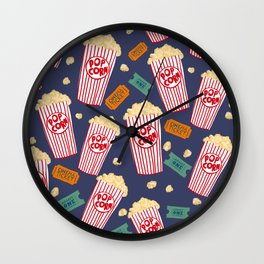 Popcorn and movie night Wall Clock