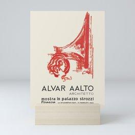 Exhibition poster-Alvar Aalto-Mostra in plazzo strozzl Firenze. Mini Art Print