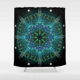 Kaleidoscope fantasy on lighted peacock shape Shower Curtain