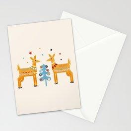 Festive deers -  retro illustration Stationery Cards