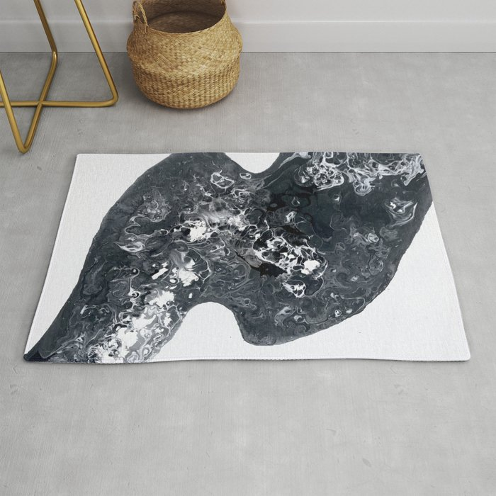 Black And White Abstract Rug By Paintingsbyagnes
