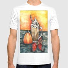 Fall Coffee White MEDIUM Mens Fitted Tee