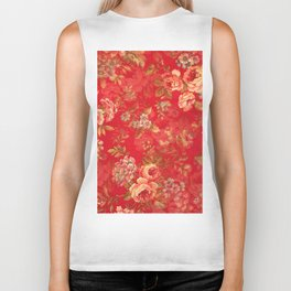 Country chic bright red pink vintage white floral Biker Tank