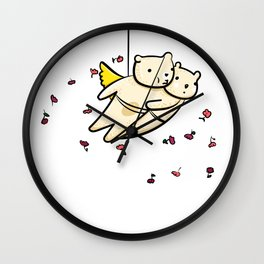 Flying bears with roses illustration Wall Clock