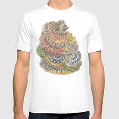 Quilted Forest: The Bear MEDIUM Mens Fitted Tee White