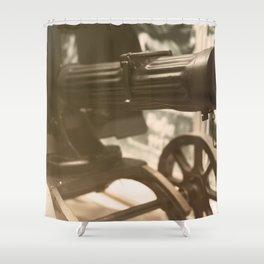 Old machine Gun. Maxim gun. First World War Machine gun. Shower Curtain