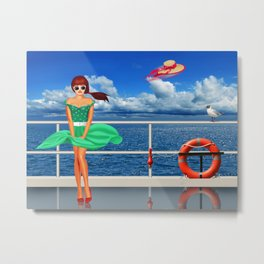 Pin-Up Girl at the railing Metal Print