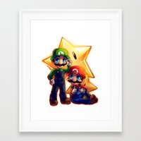 mario bros Framed Art Prints featuring Mario Bros. by StephanieIllustrations