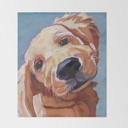 Golden Retriever Puppy Original Oil Painting Throw Blanket