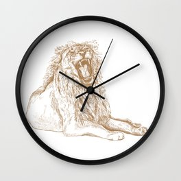 Back Off, Please in Gold | Roaring Lion Drawing Wall Clock