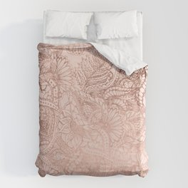 Modern rose gold floral illustration on blush pink Bettbezug