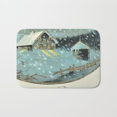 Snowy house in the woods vintage Bath Mat