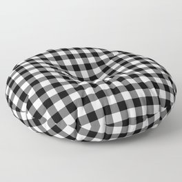 Gingham Pattern - Black & White Floor Pillow