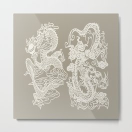 Gray Grey Alabaster Dragon Gate Metal Print