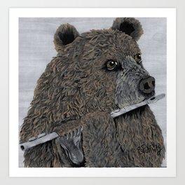 Flute Bear Art Print