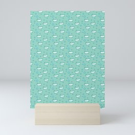 Rub a dub dub, bubbles and a bathtub (aqua) Mini Art Print