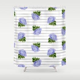 Hydrangeas flower with stripes Shower Curtain
