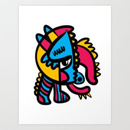 Aztec Creature in Graffiti  Pop Art Street Style by Emmanuel Signorino Art Print