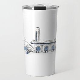 Kansas City Skyline Illustration in Sporting KC Colors Travel Mug