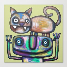 Juggler with Cat Canvas Print
