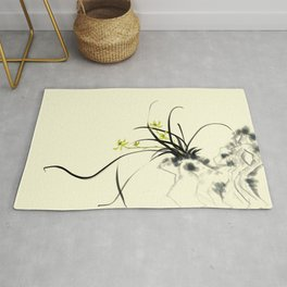 Elegant stone orchid ink decorative painting Rug