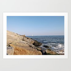 Coast of Barcelona Art Print