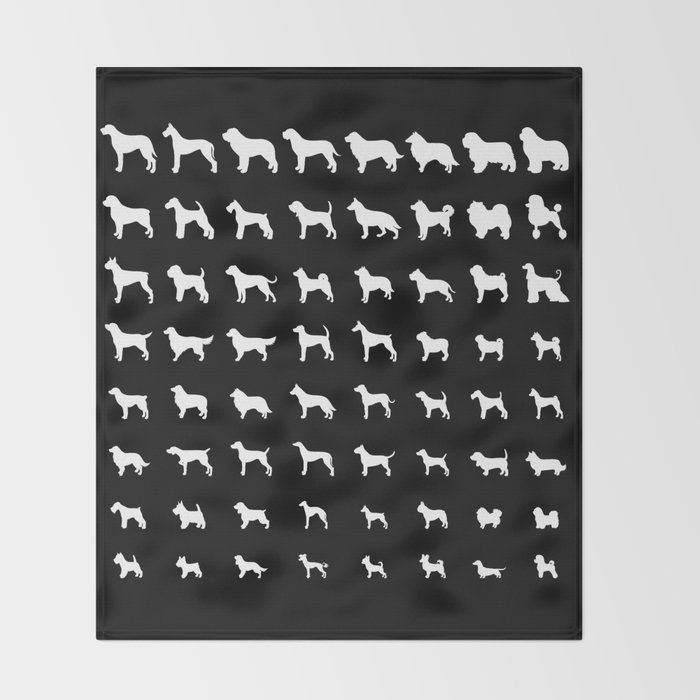 All Dogs (Black) Throw Blanket