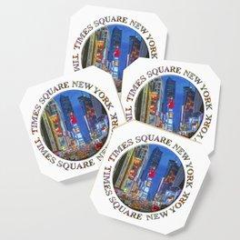 Times Square Broadway (New York Badge Emblem on white) Coaster