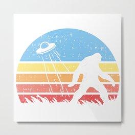 Sasquatch Bigfoot Alien UFO believer Gift Shirt Metal Print