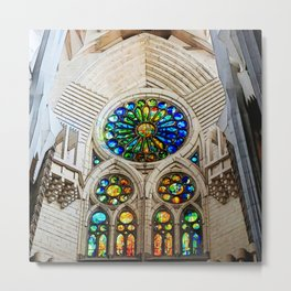 Sagrada Familia by Gaudi, Barcelona Cathedral | Stained glass Metal Print