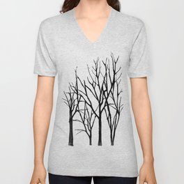Teal Branch Trees Unisex V-Neck