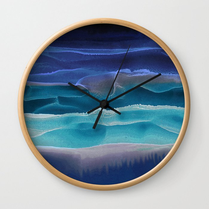 Alcohol Ink Seascape 3 - Sea at Night Wall Clock