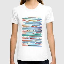 Colorful Watercolor Stripes Print T-shirt