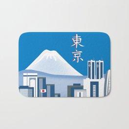 Tokyo, Japan in Kanji - Skyline Illustration by Loose Petals Bath Mat