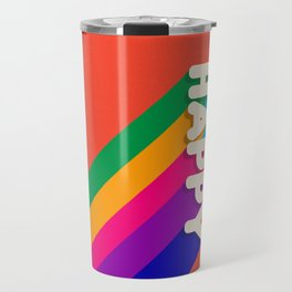 BE HAPPY - rainbow retro typography Travel Mug