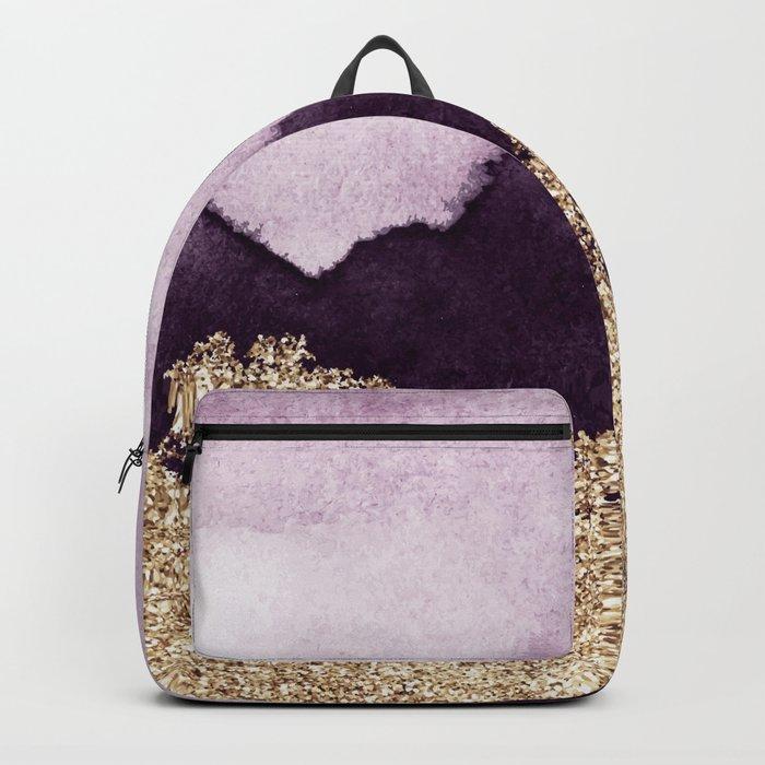 Golden glitter on purple paint Backpack