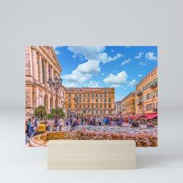 People in Nice Plaza with Fountain Mini Art Print