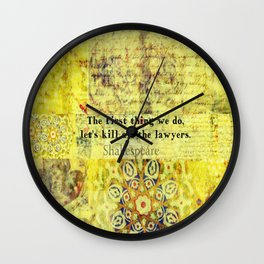 Shakespeare lawyer quote   Wall Clock