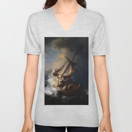 The Storm on the Sea of Galilee, Rembrandt Unisex V-Neck