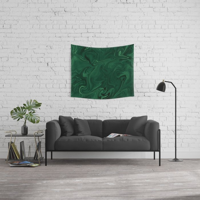 Modern Cotemporary Emerald Green Abstract Wall Tapestry