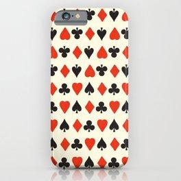 Spade, club, diamond, heart - vintage cards illustration pattern iPhone Case