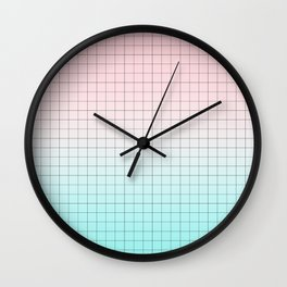Millennial Pink and Light Blue Geometry Wall Clock