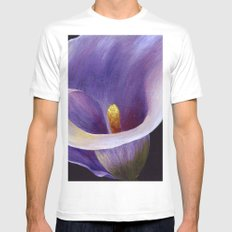 Lavender Calla Lily White Mens Fitted Tee MEDIUM